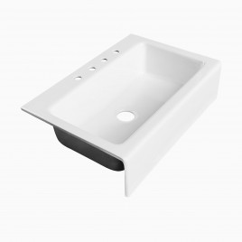 "Louise 33"" White Farmhouse Kitchen Sink, Cast Iron"