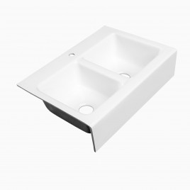 "Zadie 33"" White Farmhouse Kitchen Sink, Cast Iron"