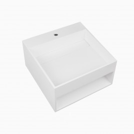 "20"" Rebecca Solid Surface Wall Mount Sink, White"
