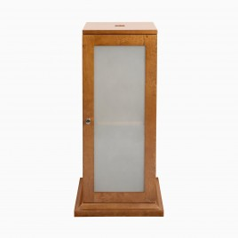 """15"""" Gloria Pedestal Single Bathroom Vanity Base Cabinet Only with Frosted Glass, Natural Cherry"""