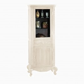 "33"" Garonne Curio Cabinet Display Case, Antique White"