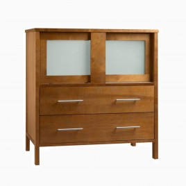 """23"""" Paula Single Bathroom Vanity Base Cabinet Only with Frosted Glass Doors, Natural Cherry"""