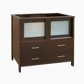 """31"""" Paula Single Bathroom Vanity Base Cabinet Only with Frosted Glass Doors, Vintage Cherry"""