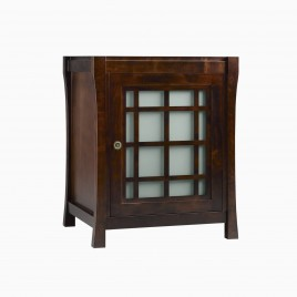 """25"""" Sachi Single Bathroom Vanity Base Cabinet Only with Frosted Glass Door, Coffee"""