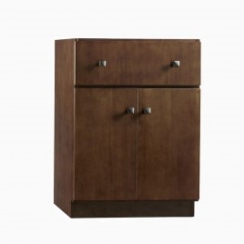 "24"" Samuel Single Bathroom Vanity Base Cabinet Only, Medium Walnut"