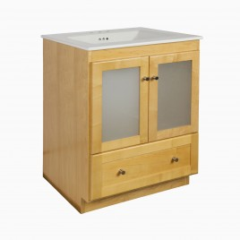 """24"""" Wardley Single Bathroom Vanity Base Cabinet Only with Frosted Glass Doors, Honey"""