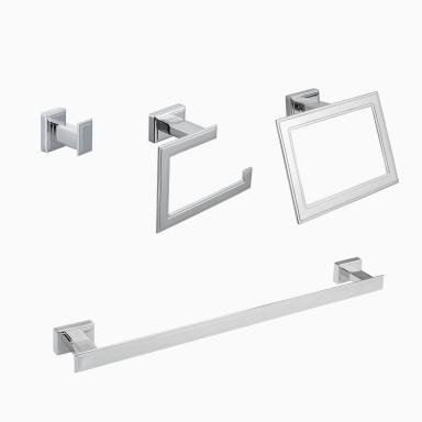 "Carraway 4-Piece Bathroom Hardware Set with 24"" Towel Bar, Polished Chrome"