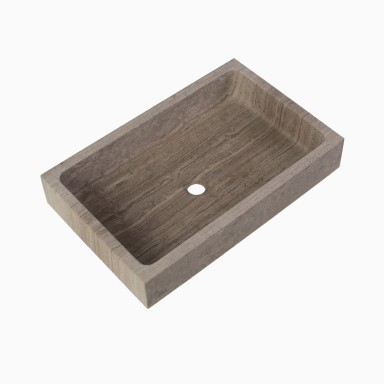 Lehi Stone Vessel Sink, Wooden Gray Marble