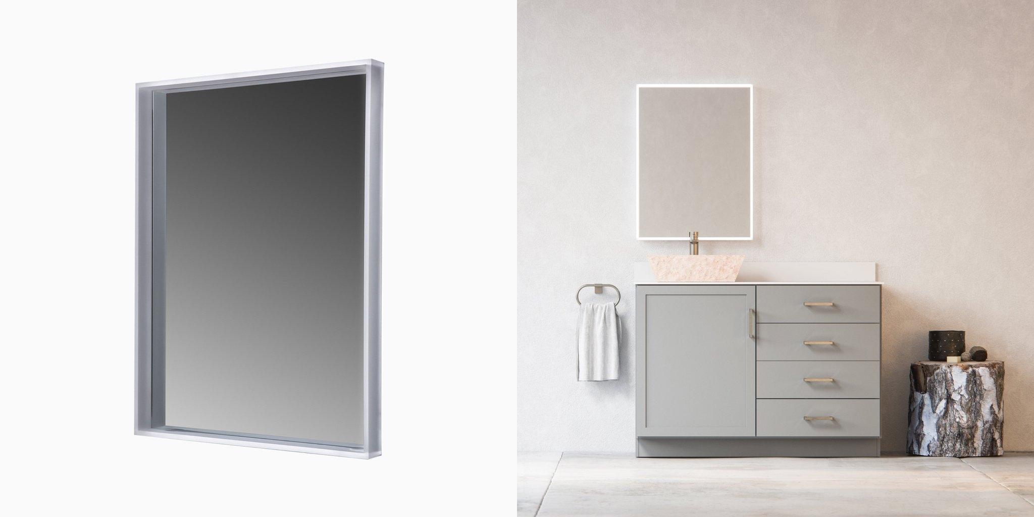 led mirror wit shelf