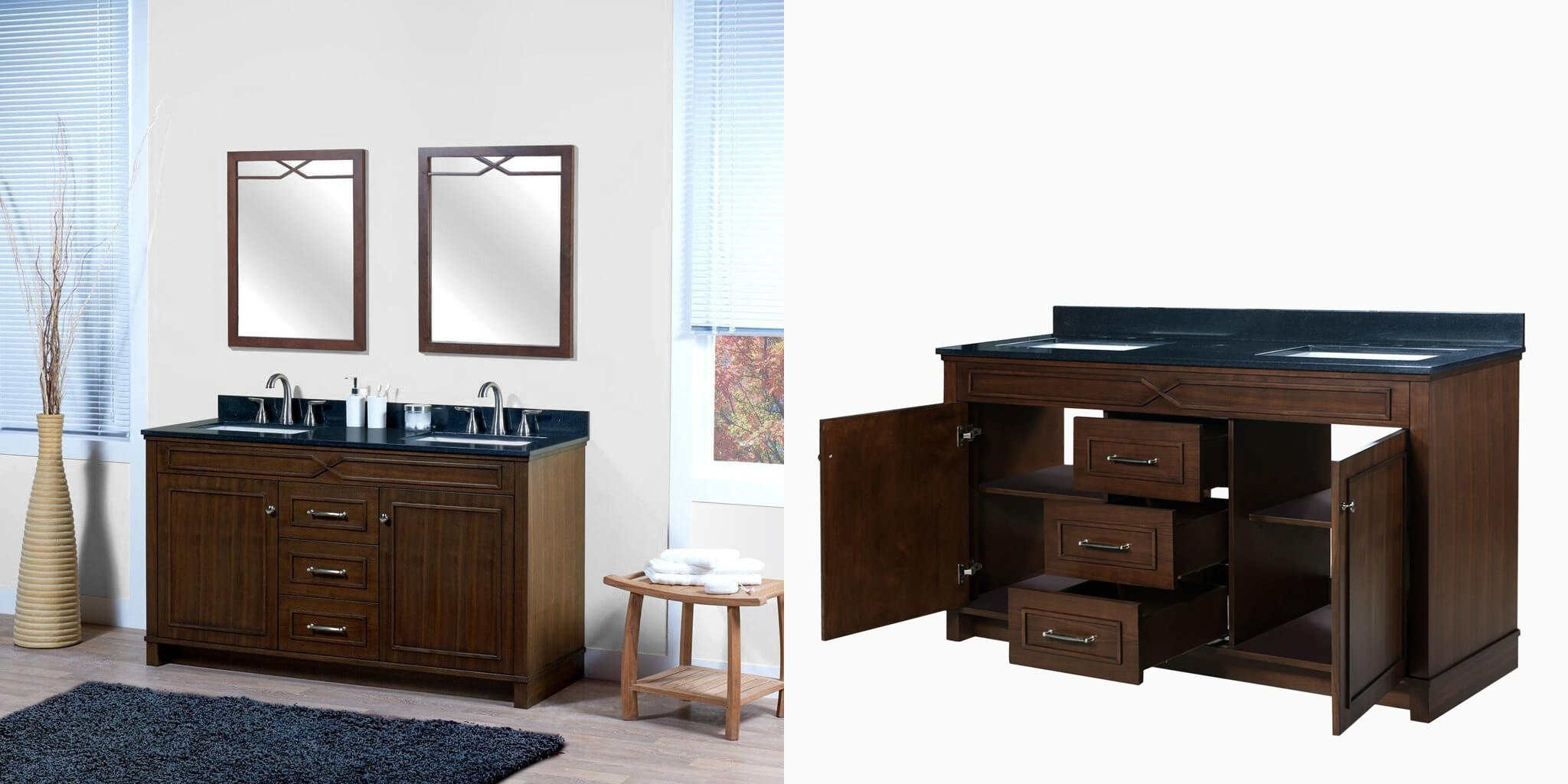 60 inch double sink bathroom vanities